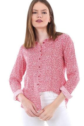 Bigdart Kadın Çiçek Desen Kırmızı Kol Katlamalı Desenli Gömlek 3638bgd19_267
