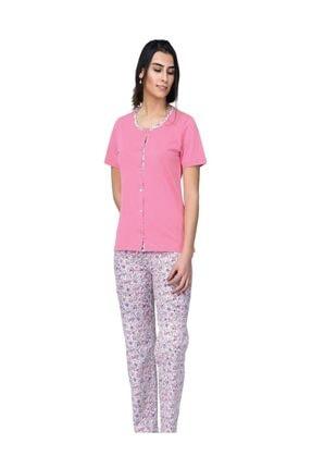Çift Kaplan 7419 Boydan Düğmeli Kadın Pijama Takım
