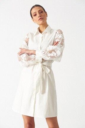Robin Kadın Kol Detaylı Gömlek Elbise - Beyaz
