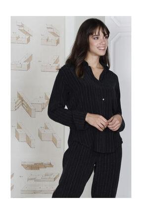 Hays Kadın Siyah Glamour Simli Cupro 2li Uzun Pijama Takımı