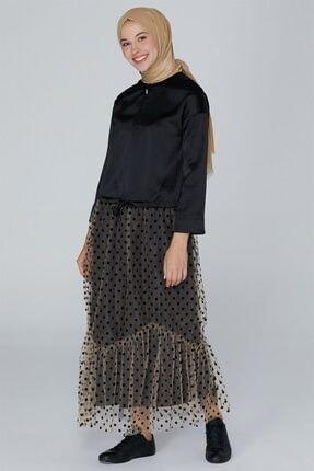 Armine Bağcık Detaylı Saten Bluz Siyah 9k3736