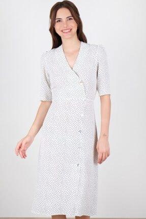 Spazio Kadın Beyaz Kirra Puanlı Elbise 50095856