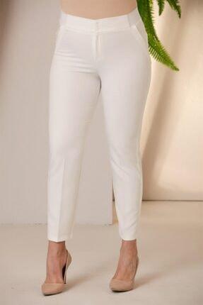 Rmg Kadın Beyaz Beli Lastikli Büyük Beden Kumaş Pantolon