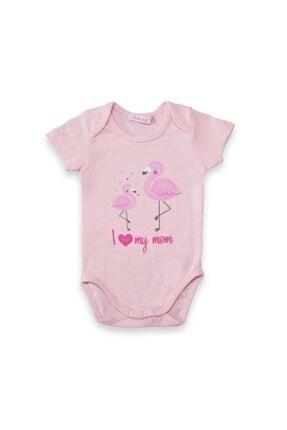 Bebessi Kız Bebek Pembe I Love My Mom Ve Kuş Baskılı Badi 3267