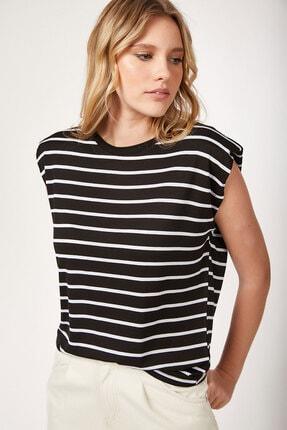 Bigdart Kadın Siyah Çizgili Vatkalı Basic  T-Shirt 5040507273373