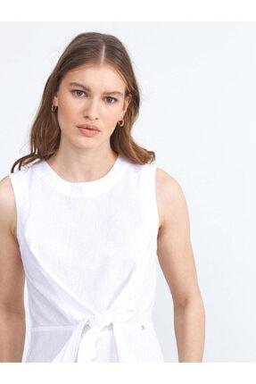XINT Kadın Beyaz Yuvarlak Yaka Bluz