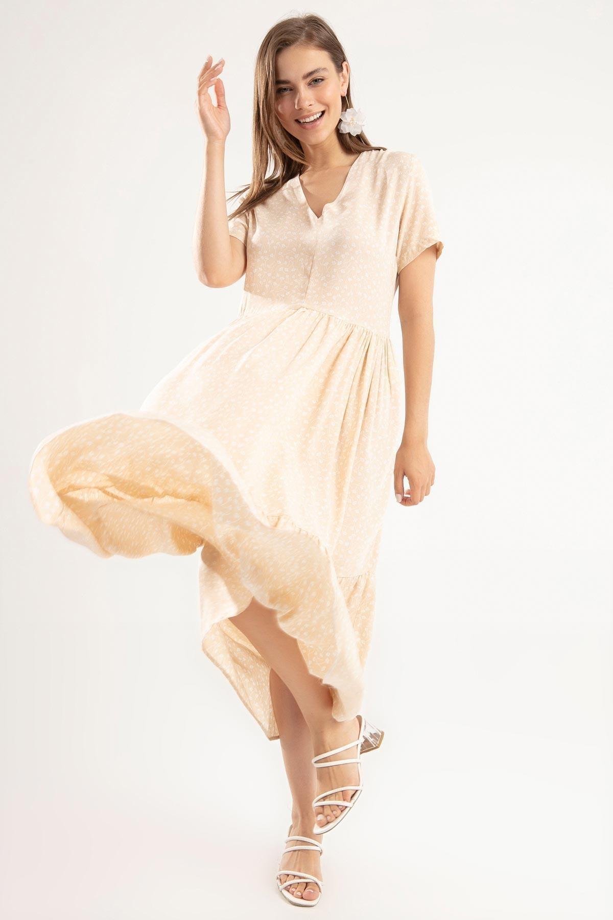 Y-London Kadın Krem V Yaka Volan Detaylı Çiçekli Kısa Kollu Uzun Elbise Y20S168-2209