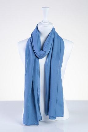 Akel Kadın Mavi Şeritli Şifon Şal