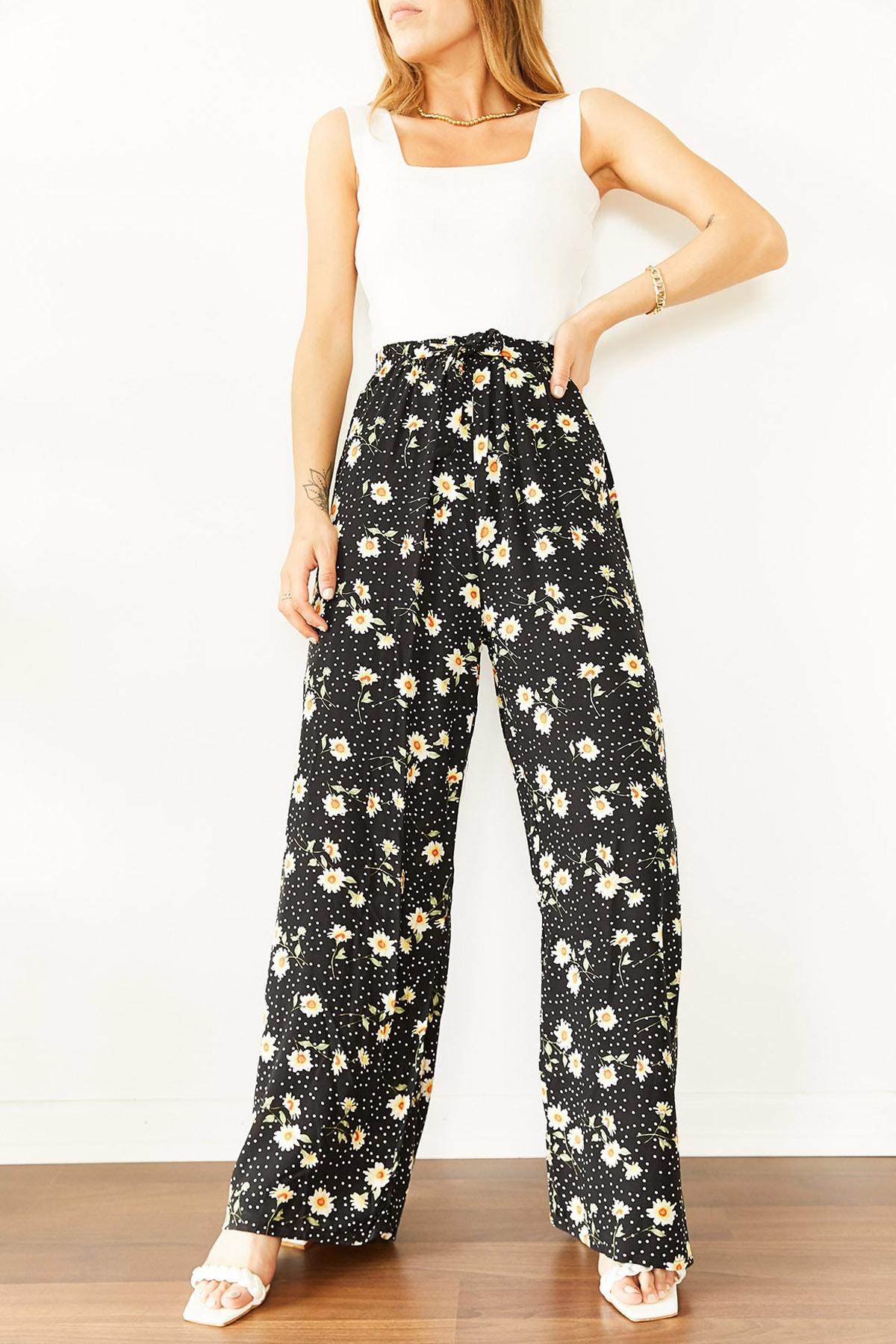 Xhan Kadın Siyah & Beyaz Çiçek Desenli Beli Lastikli Dokuma Pantolon 0YXK5-43894-02 8699443894021