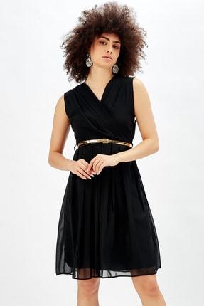 Sense Kadın Siyah Beli Kemerli Kruvaze Şifon Ofis Elbisesi