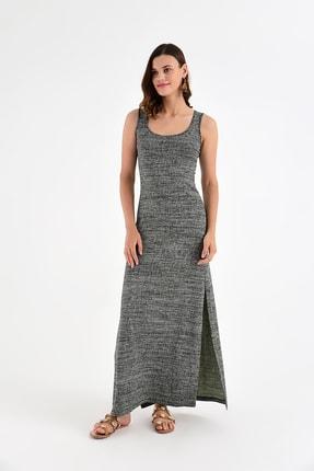 Laranor Kadın Yeşil Desen Kolda Püskül Detay Elbise 15L4434