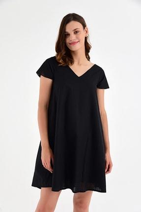 Laranor Kadın Siyah Yaka Detaylı Keten Görünümlü Pamuk Kumaş  Elbise 20L6803