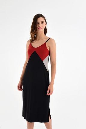 Laranor Kadın Bordo-Siyah Ayarlanabilir Askılı Yırtmaç Detaylı Elbise 20L6802
