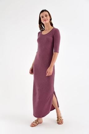 Laranor Kadın Mürdüm Yırtmaç Detay Balerin Yaka Elbise 19L6794