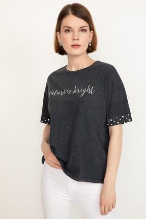 D-Paris Kadın  Antrasit Kolu Taşlı T-shirt