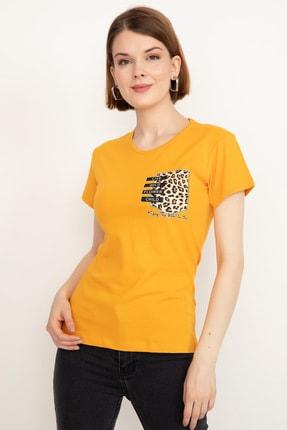D-Paris Kadın Sarı Leopar Baskılı T-shirt