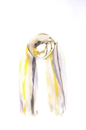 Mizalle Kadın Turuncu Çizgi Desenli Şal  Şal