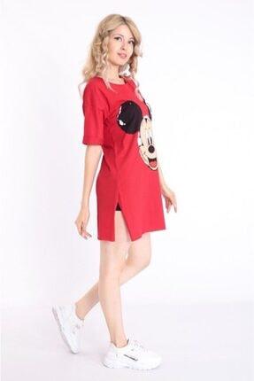 Kadın Kırmızı  Miki Mouse Desenli Tunik M724686
