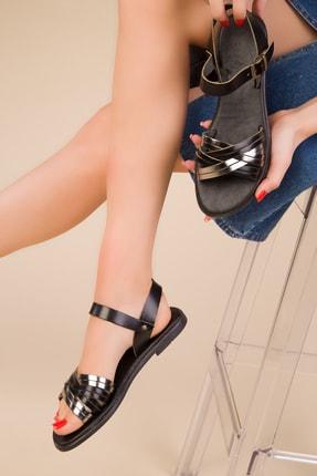 SOHO Hakiki Deri Siyah-Platin Kadın Sandalet 15010