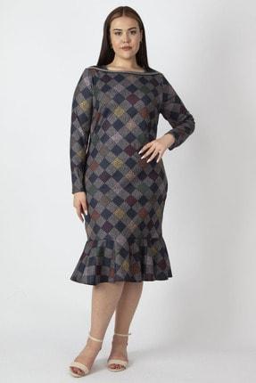Şans Kadın Lacivert Ekose Desen Yaka Detaylı Etek Ucu Volanlı Elbise 65N16972