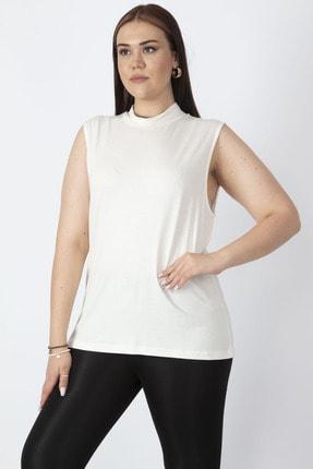 Şans Kadın Kemik Sıfır Yakalı Kolsuz Tişört 65N16958