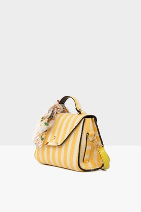 Bagmori Sarı Kadın Çizgi Desenli Kapaklı Şallı Çanta M000004747