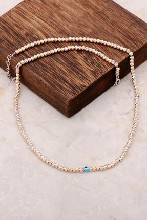 Sümer Telkari Dorissa Altın Yaldızlı Rose Gümüş Nazar Boncuklu Kolye 6856