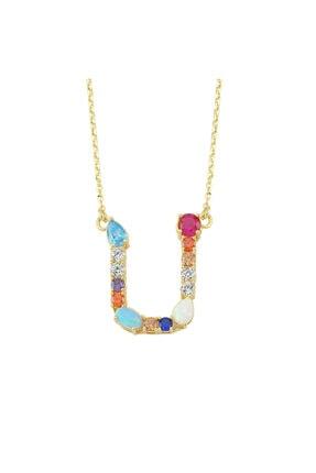 LUZDEMIA Kadın Çok Renkli Opal Initial U Harfi Kolye