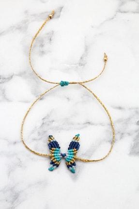Pelin Aksesuar Kadın Lacivert Mavi El Yapımı Makrame Kelebek Bileklik