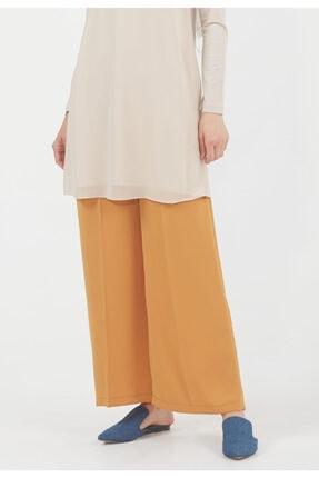 Setrms Kadın Sarı Krep Ütü İzli Bol Paça Pantolon