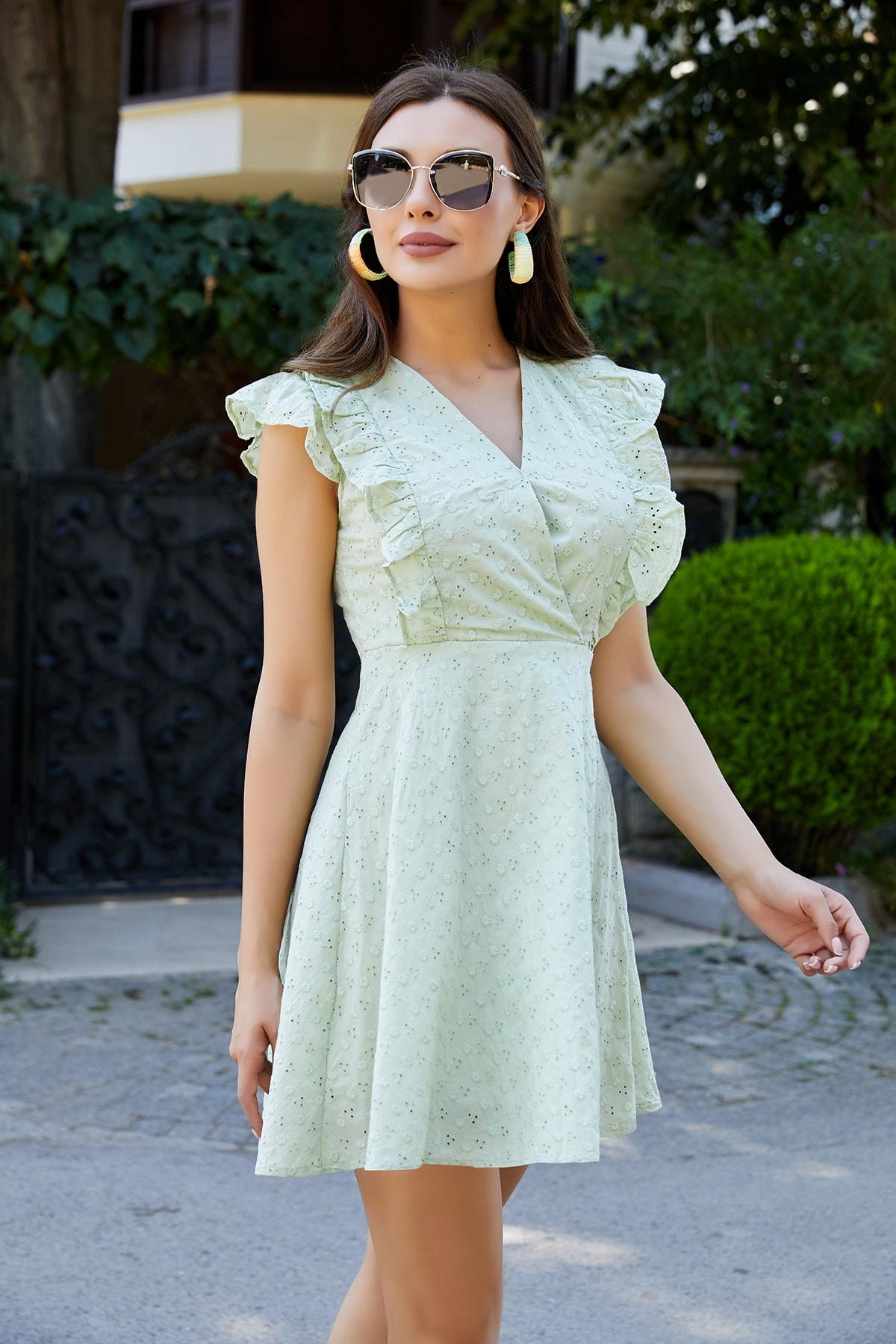 Sateen Kadın Çağla Yeşili Fırfırlı Mini Fisto Elbise Stn253Kel111