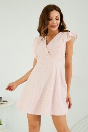 Sateen Kadın Pudra Fırfırlı Mini Fisto Elbise Stn253Kel111