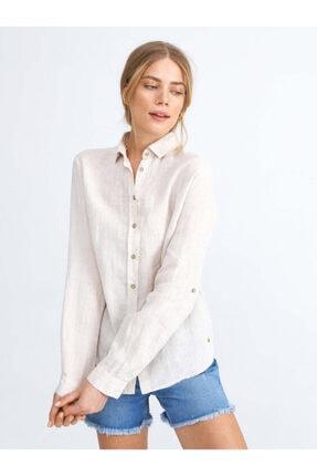 XINT Kadın Keten Rahat Kesim Basic Gömlek
