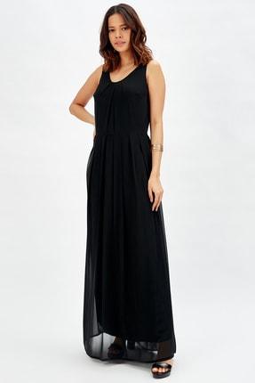 Sense Astarlı Pileli Şifon Uzun Elbise K.siyah,