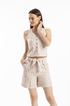 Pitti Kadın Bej Çizgili Bluz 10201