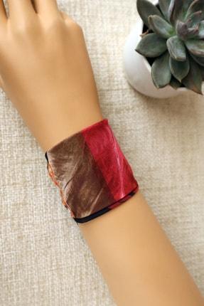 Hera Accessories Unisex Kırmızı Desen Bilek Fuları