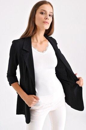 Jument Kadın Aerobin Keten Yakalı Cep Kapaklı Capri Kol Kadın Hırka Ceket - Siyah