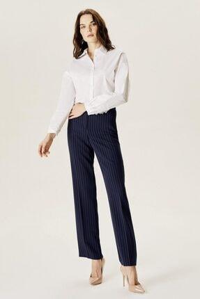 Naramaxx Kadın Lacivert Bol Paça Çizgili Pantolon
