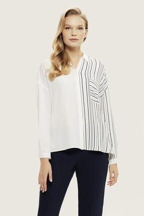 Naramaxx Kadın Beyaz Çizgili Gömlek Bluz
