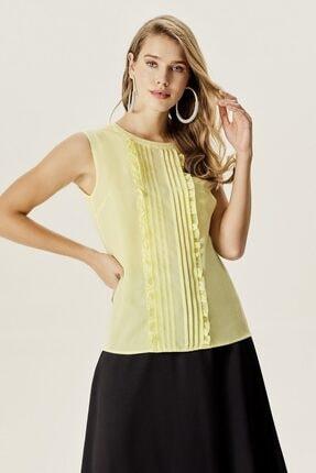 Naramaxx Kadın Yeşil Kolsuz Fırfır Detaylı Bluz
