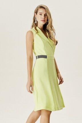 Naramaxx Kadın Yeşil Kuşaklı Kruvaze Yaka Elbise