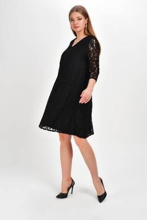 Laranor Kadın Siyah Klasik Kesim Güpür Elbise 19Lb9215