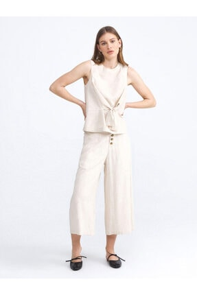 XINT Kadın Bej Keten Rahat Kesim Pantolon