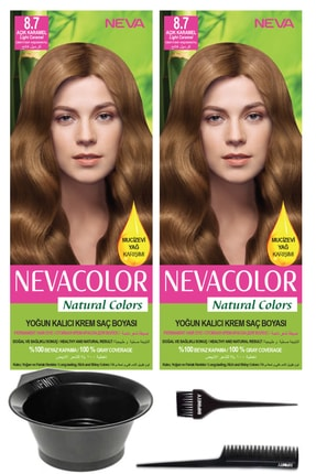 Neva Color 2'li Natural Colors 8.7 Açık Karamel - Kalıcı Krem Saç Boyası Ve Saç Boyama Seti 7681655541945