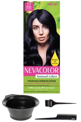 Neva Color Natural Colors 1.1 Mavi Siyah - Kalıcı Krem Saç Boyası Ve Saç Boyama Seti 7681655541324