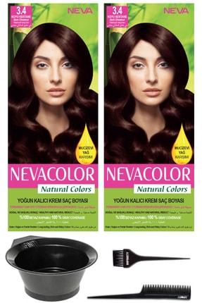 Neva Color 2'li Natural Colors 3.4 Koyu Kestane - Kalıcı Krem Saç Boyası Ve Saç Boyama Seti 7681655541350