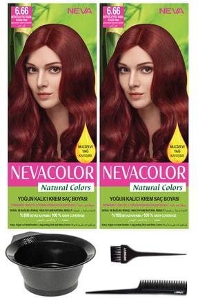 Neva Color 2'li Natural Colors 6.66 Büyüleyici Kızıl Kalıcı Krem Saç Boyası Ve Saç Boyama Seti