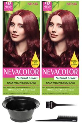 Neva Color 2'li Natural Colors 5.66 Şarap Kızılı Kalıcı Krem Saç Boyası Ve Saç Boyama Seti