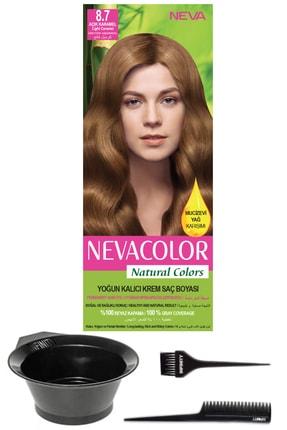 Neva Color Natural Colors 8.7 Açık Karamel Kalıcı Krem Saç Boyası Ve Saç Boyama Seti