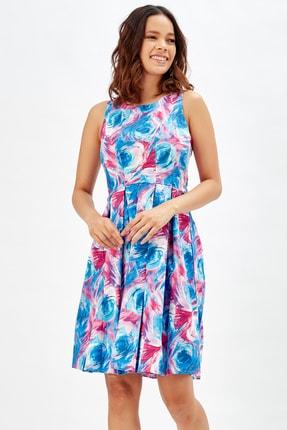 Sense Havuz Yaka Eteği Pileli Elbise | Elb32181 Mavı